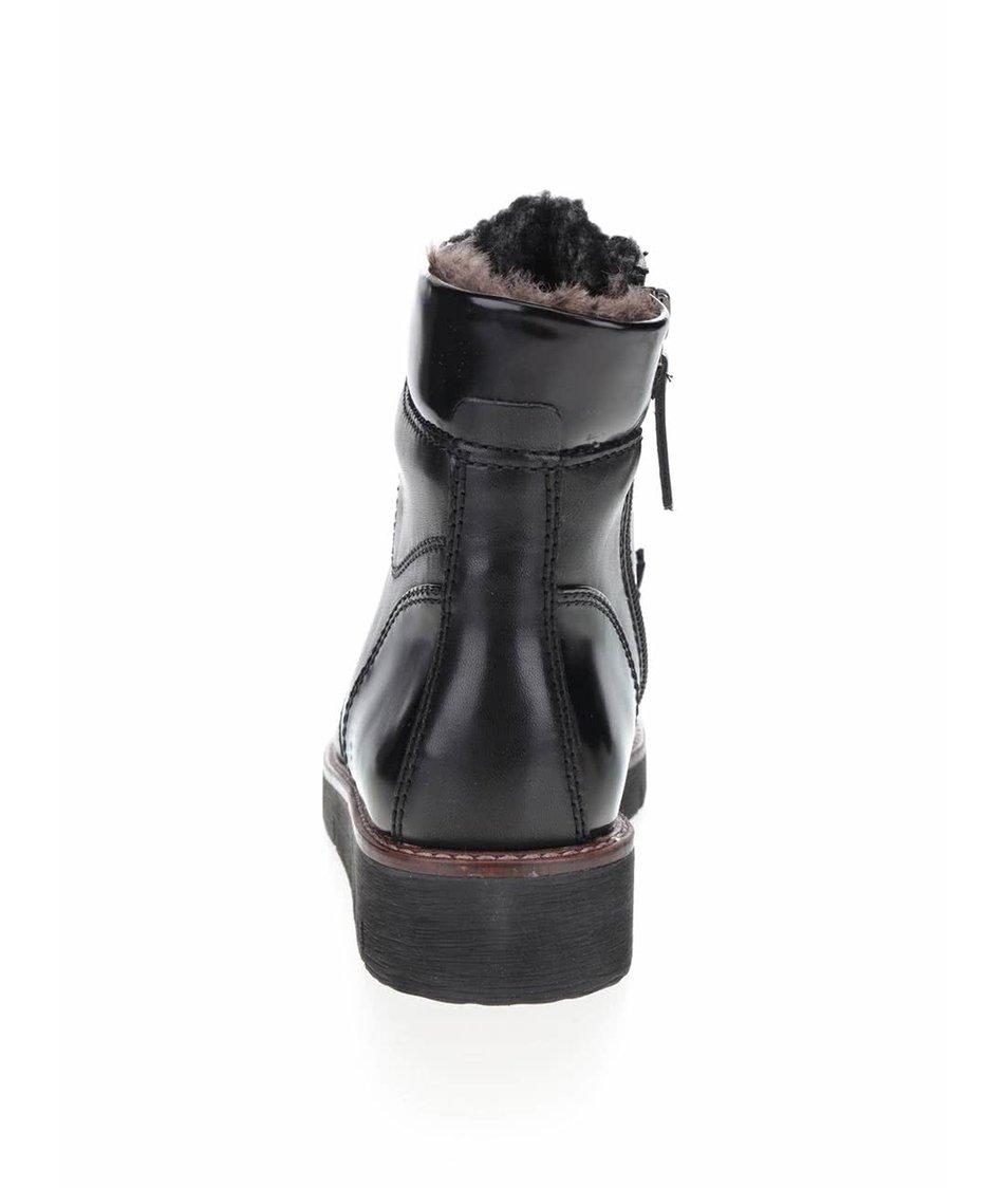 Černé kožené kotníkové boty s umělým kožíškem Tamaris