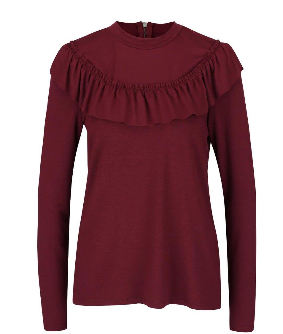 Vínové tričko s volánkem Vero Moda Tammi
