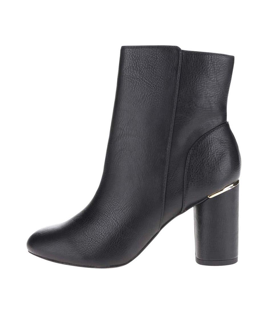 Černé kotníkové boty na podpatku Miss Selfridge