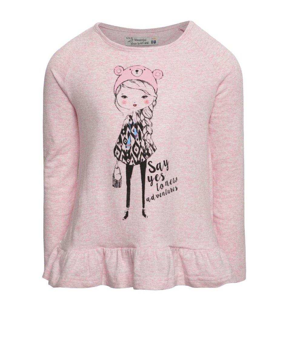 Růžové holčičí tričko spotiskem a dlouhým rukávem 5.10.15.
