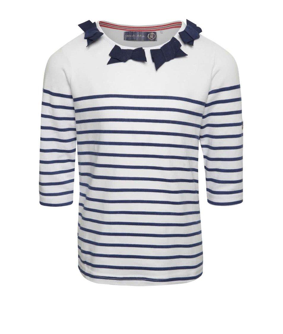 Modro-krémové holčičí pruhované tričko s dlouhým rukávem 5.10.15.