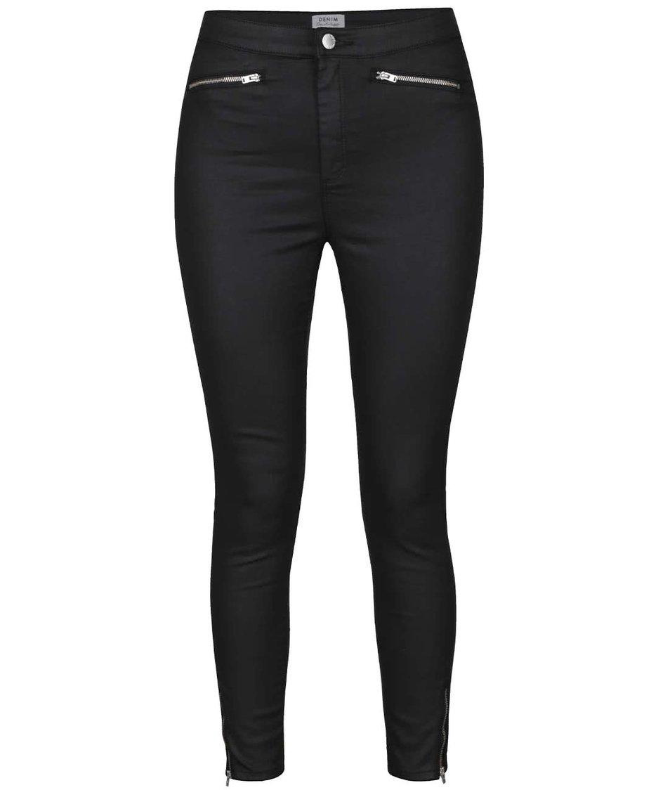 Tmavě šedé skinny kalhoty s ozdobnými zipy Miss Selfridge