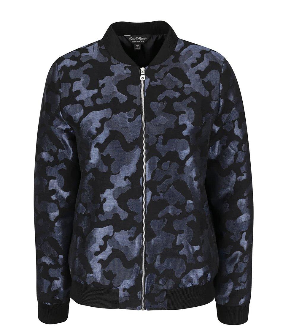 Černo-modrý vzorovaný bomber Miss Selfridge