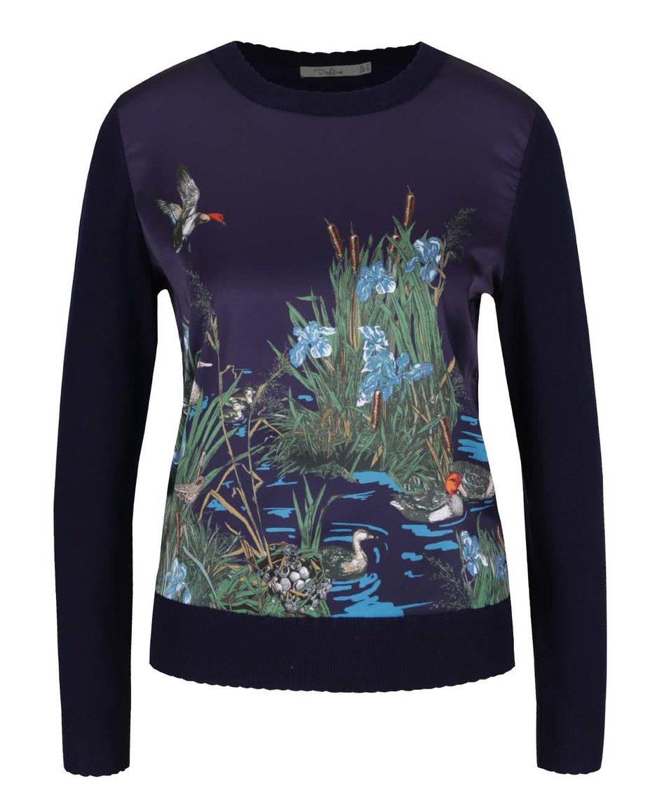 Modrý lehký svetr s motivem přírody Darling Viviana