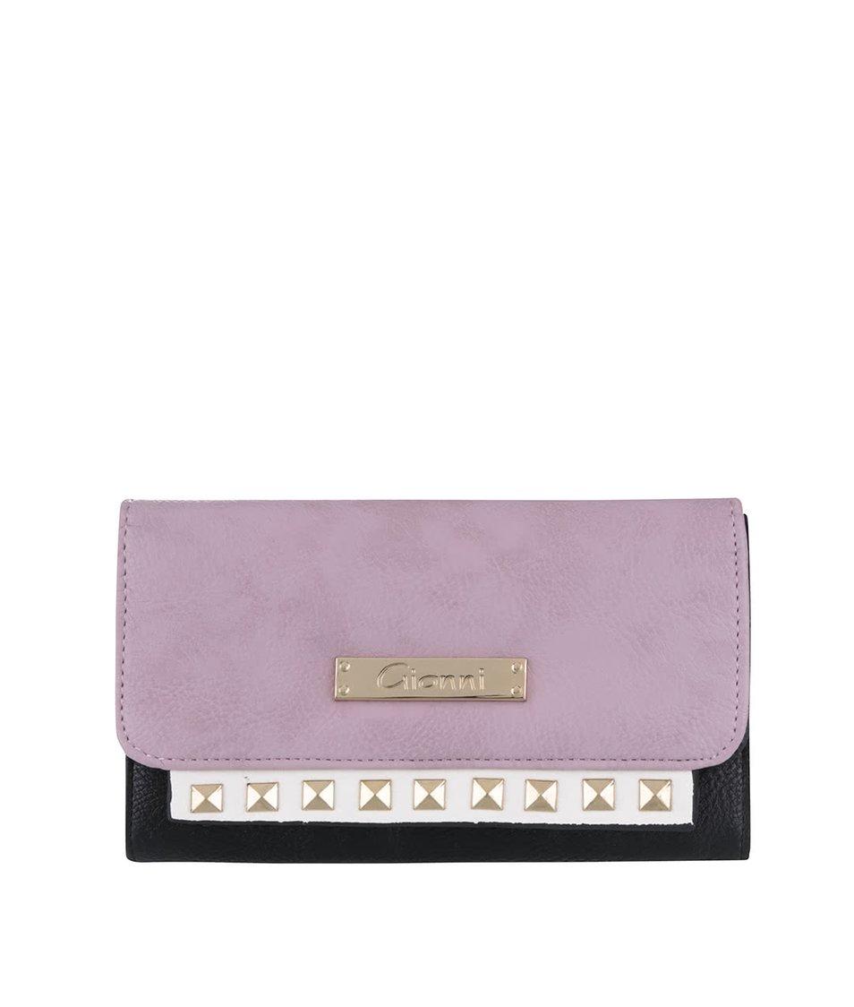 Růžovo-černá peněženka s detaily ve zlaté barvě Gionni Carmela