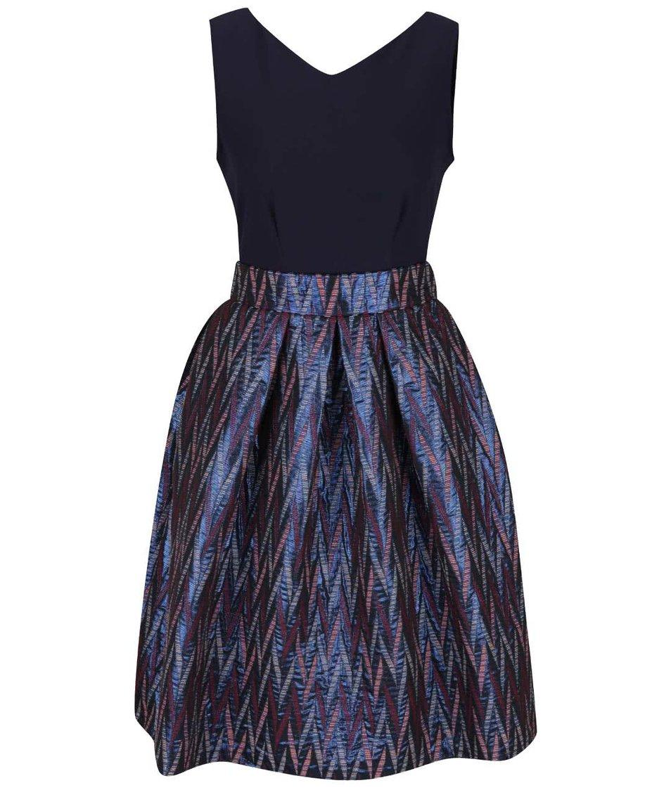 Tmavě modré šaty se vzorovanou sukní a mašlí Closet