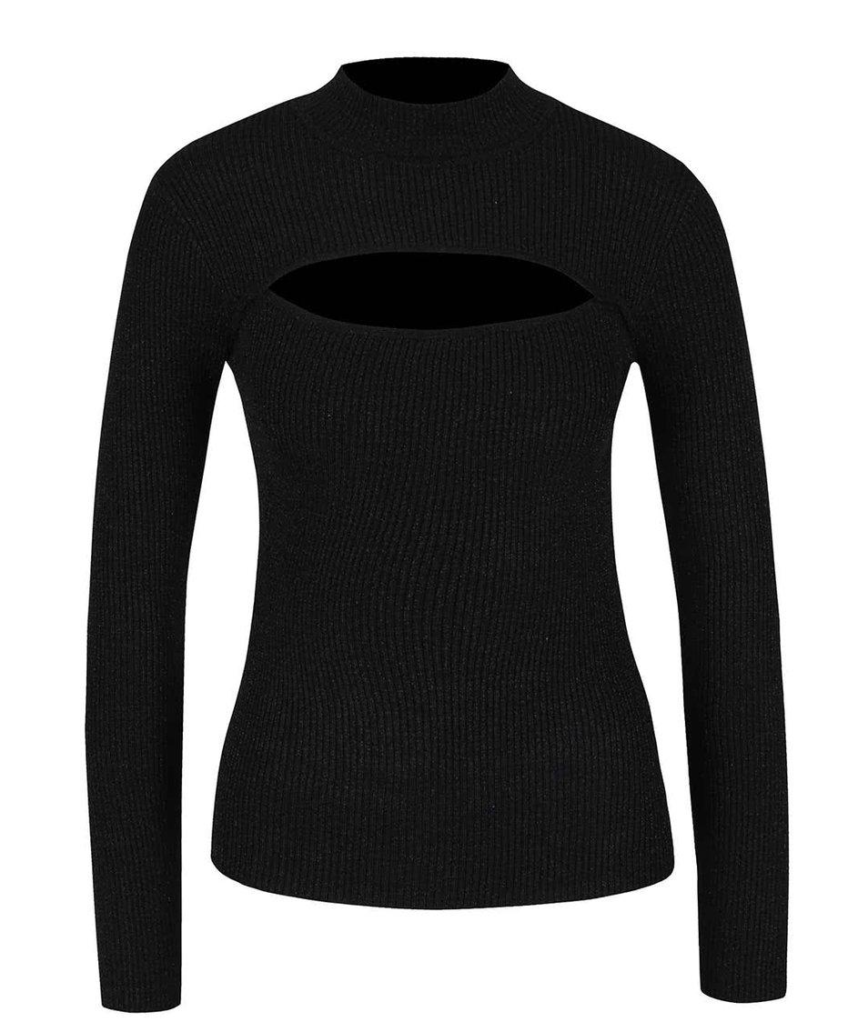 Černý svetr s průstřihem v dekoltu a třpytivým efektem TALLY WEiJL
