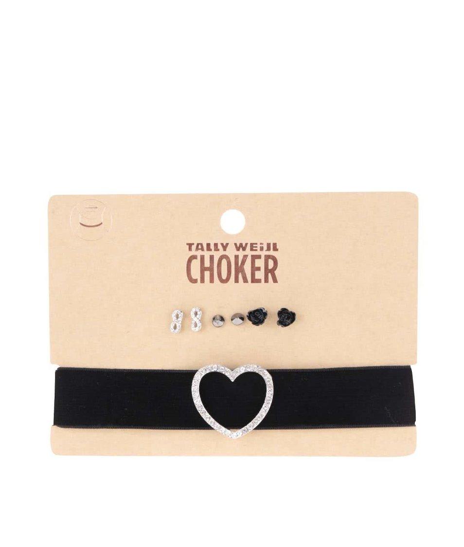 Set černého náhrdelníku se srdcem a tří párů náušnic Tally Weijl