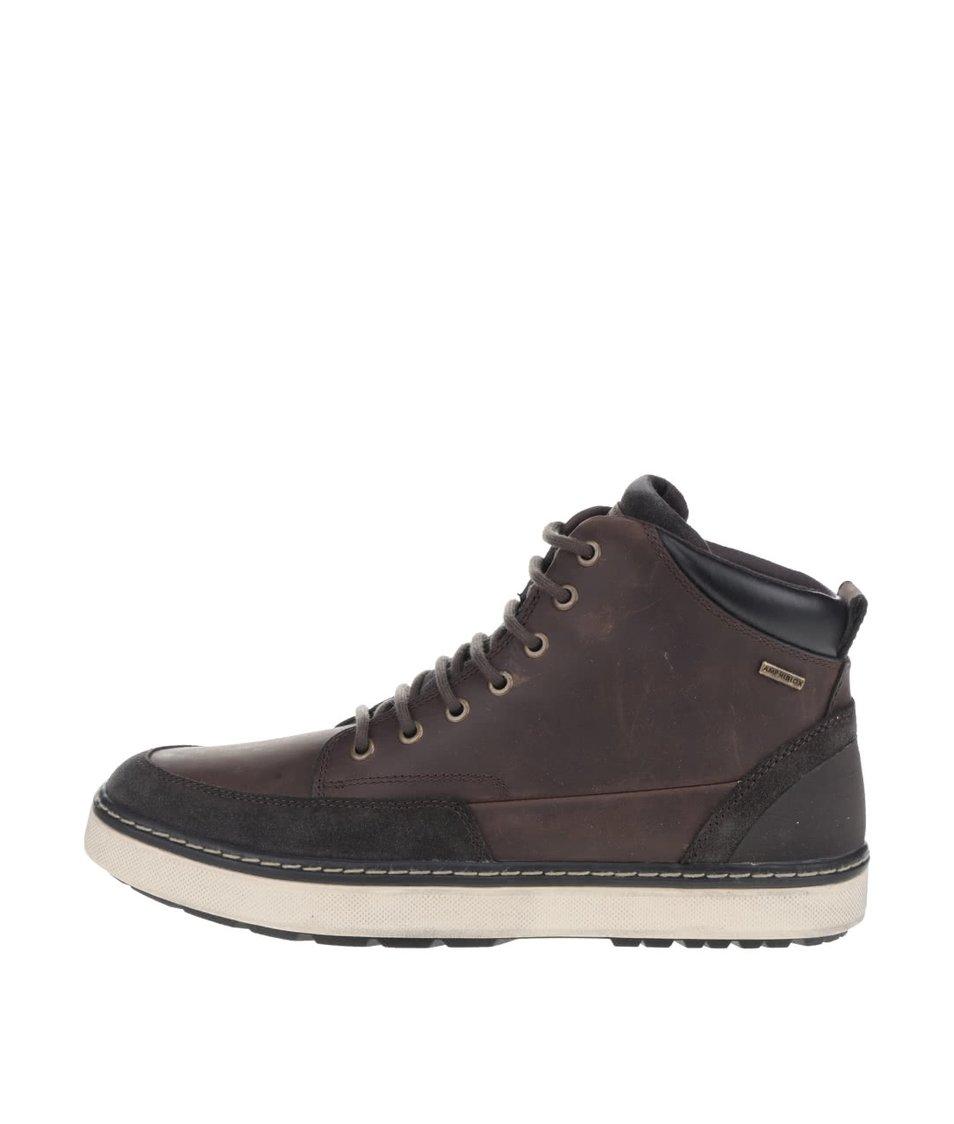 Tmavě hnědé pánské kožené kotníkové boty Geox Mattias