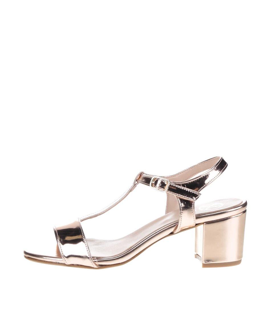 Lesklé sandálky v růžovozlaté barvě na podpatku OJJU