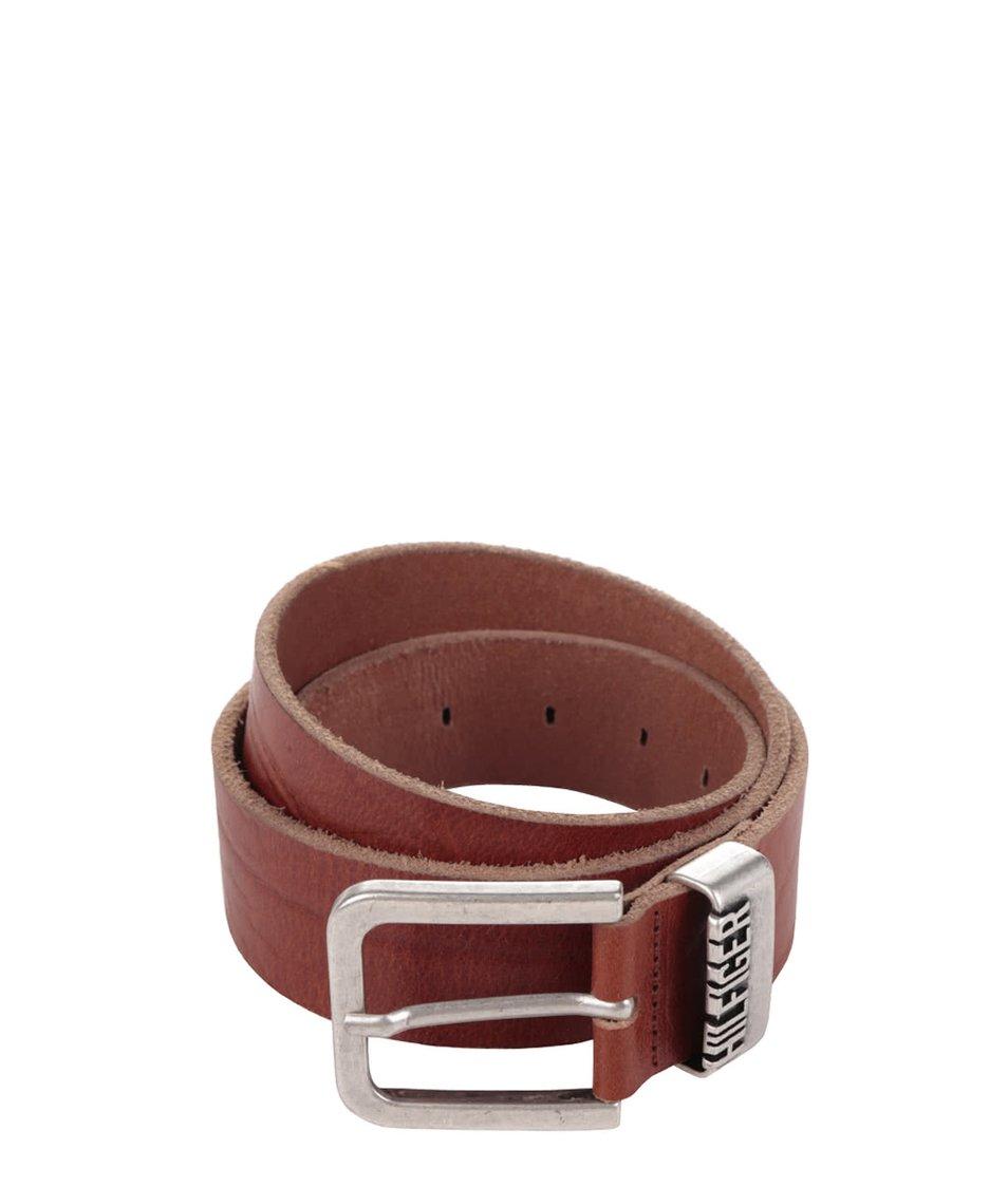 Světle hnědý pánský kožený pásek s kovovou sponou Tommy Hilfiger