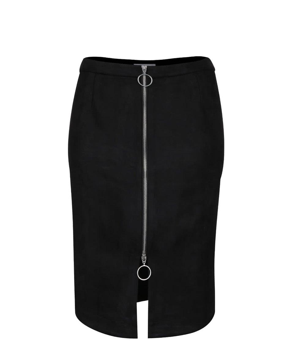 Černá sametová sukně se zipem VILA Pull