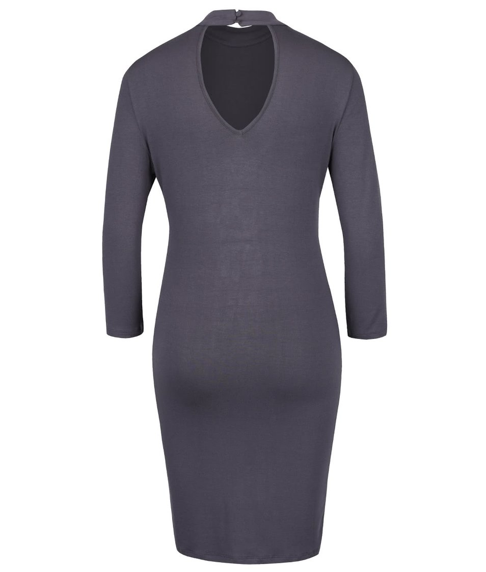a3b01c176d3 Tmavě šedé šaty s průstřihem na zádech VILA Obbos - SLEVA ...