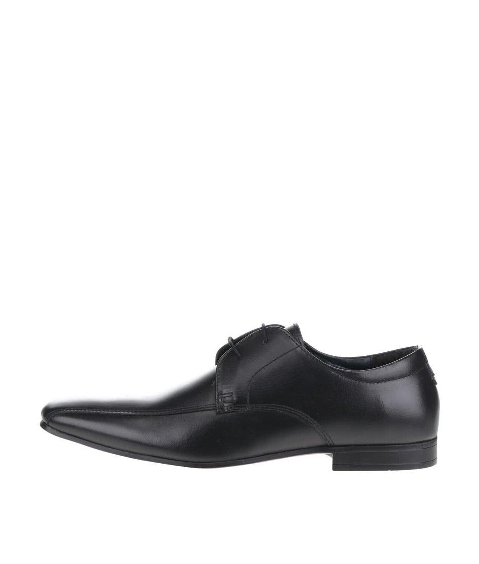 Černé kožené polobotky Burton Menswear London Kenward