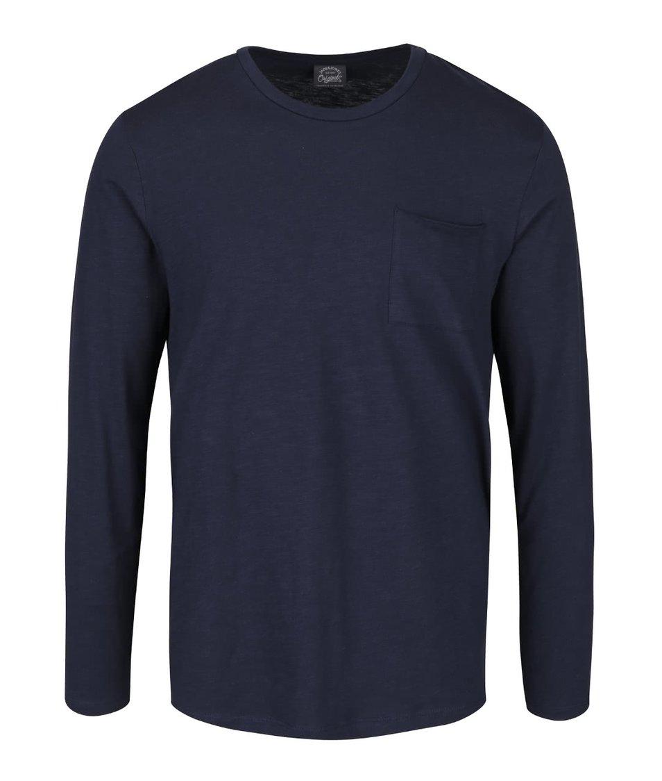 Tmavě modré žíhané triko s náprsní kapsou Jack & Jones Dong