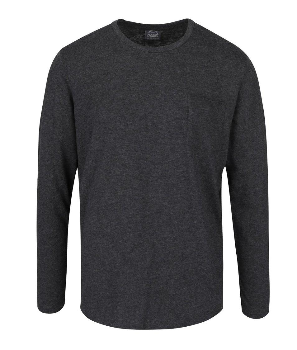 Tmavě šedé žíhané triko s náprsní kapsou Jack & Jones Dong