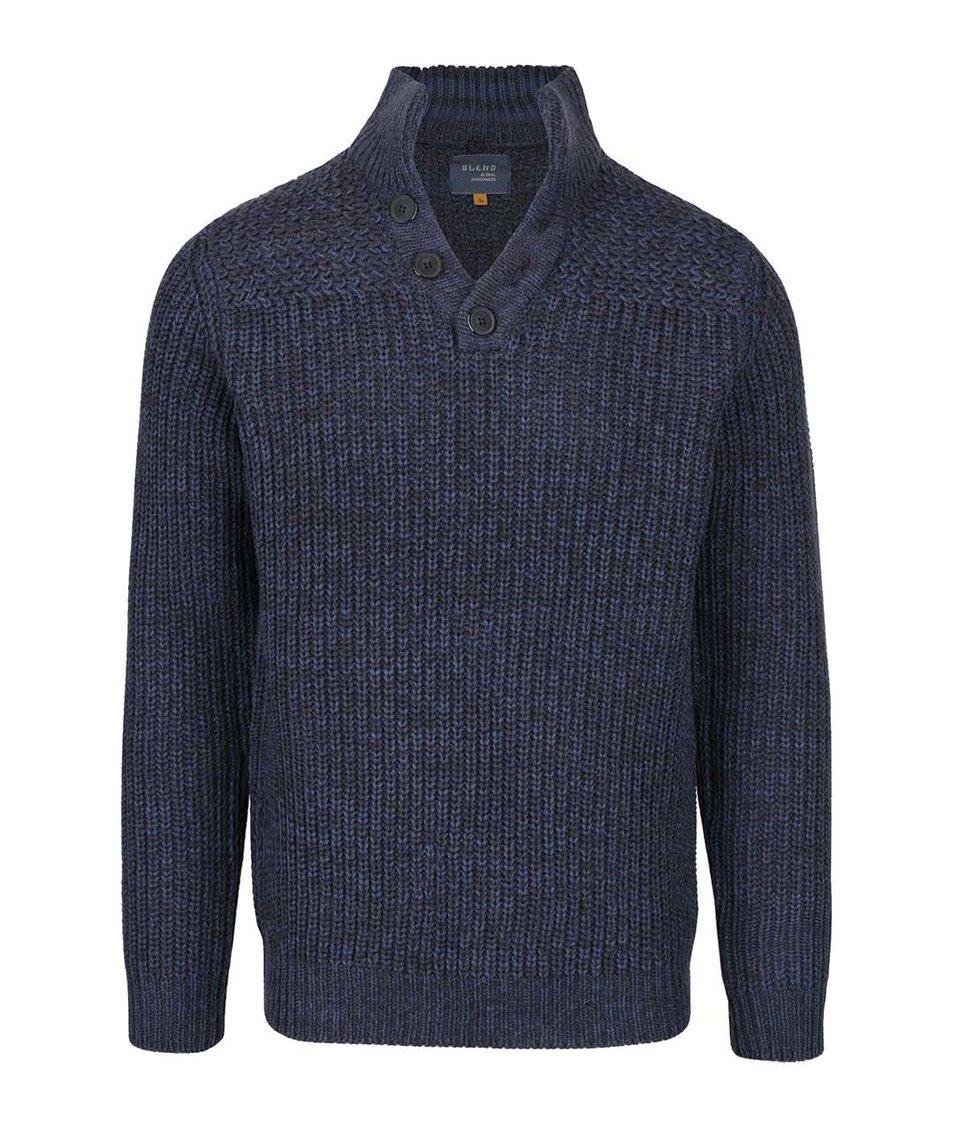 Tmavě modrý žíhaný svetr s knoflíky Blend