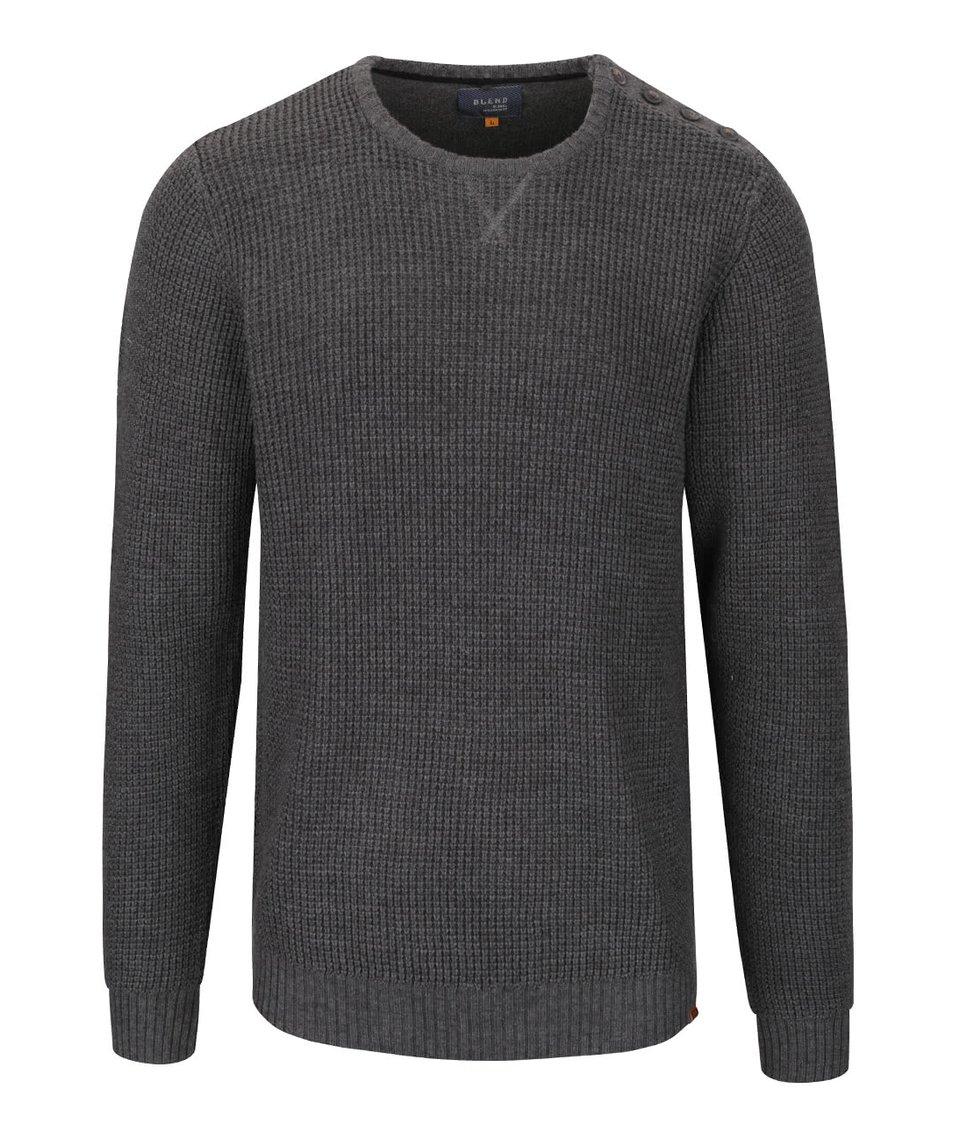 Tmavě šedý svetr s knoflíky na ramenou Blend
