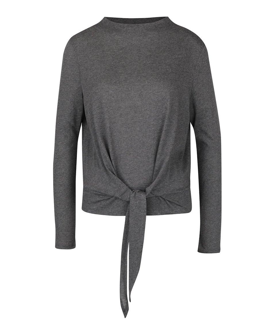 Tmavě šedé tričko s uzlem a dlouhým rukávem ONLY Rebel