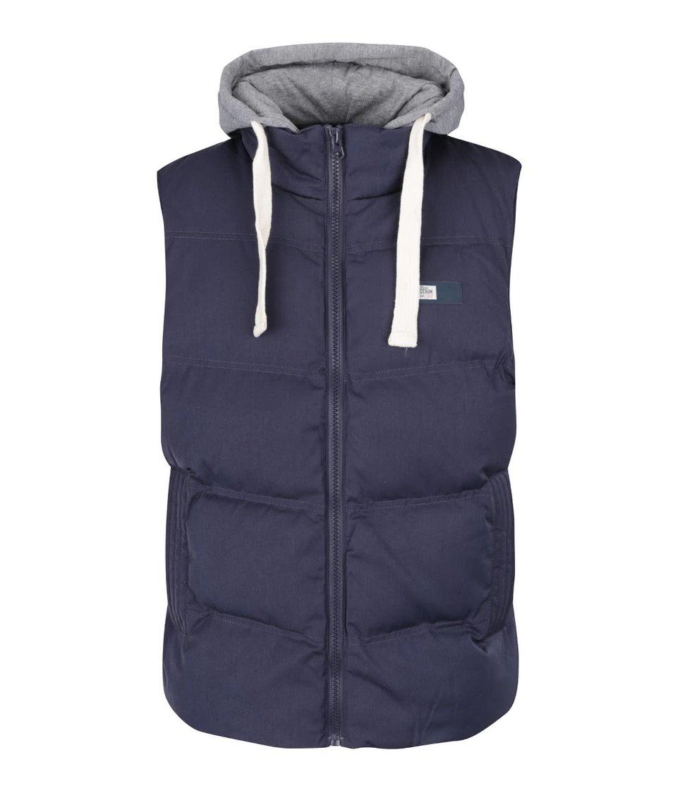 Tmavě modrá vesta s kapucí Blend