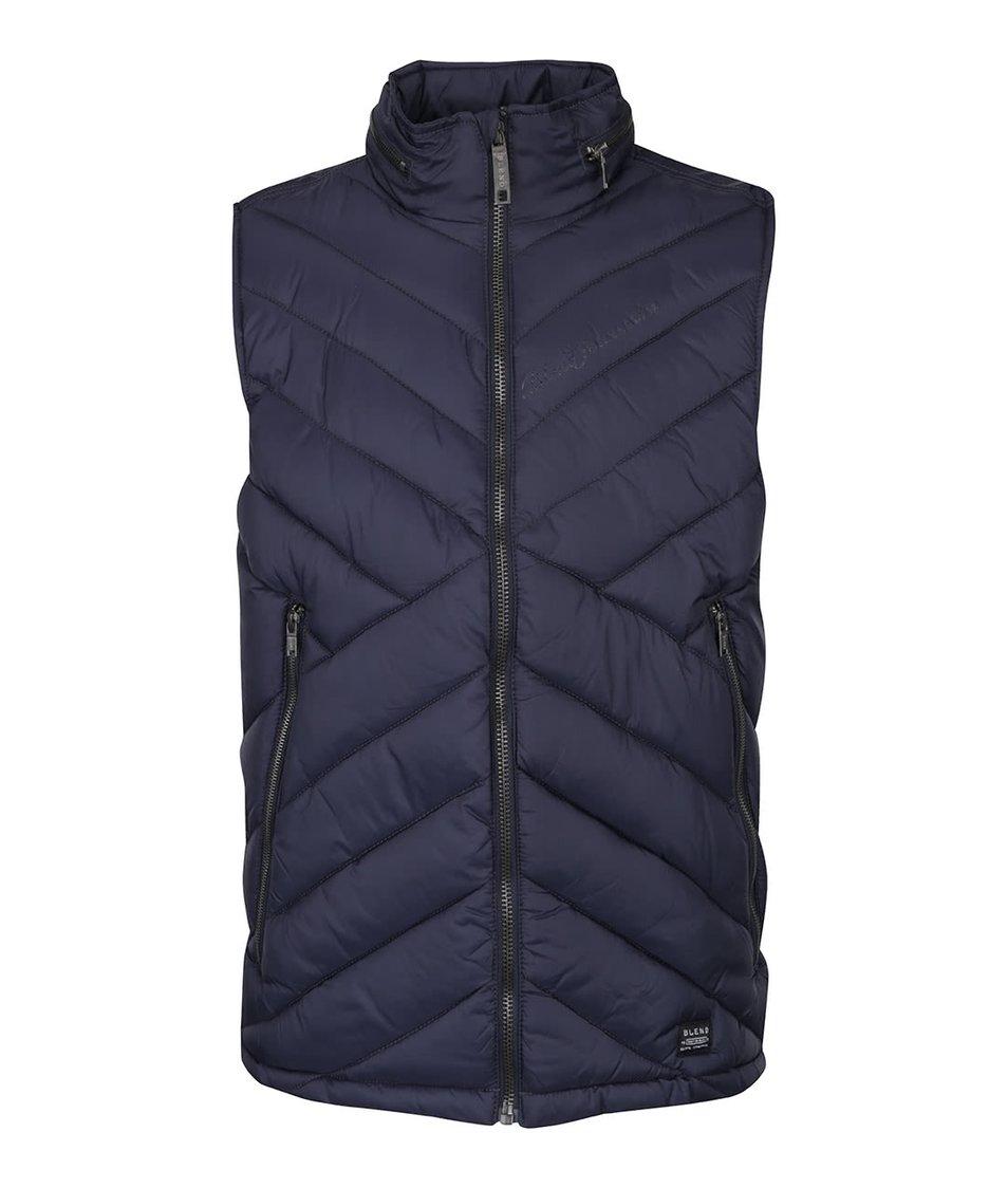Tmavě modrá vesta s asymetrickým prošíváním Blend