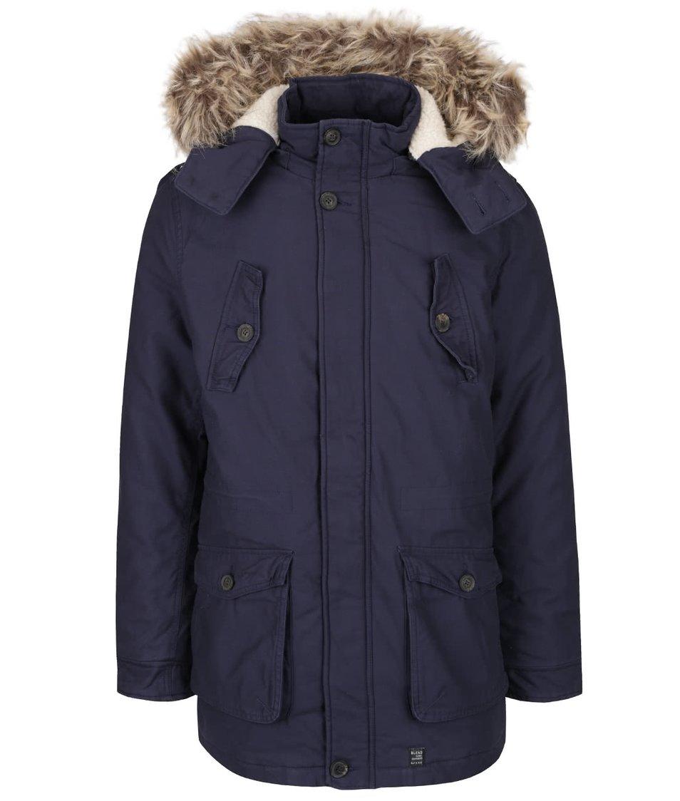 Tmavě modrá parka s kapucí s umělým kožíškem Blend