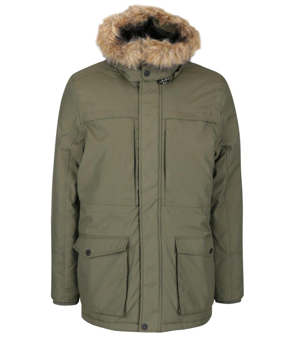 Khaki parka s kapucí a umělým kožíškem Blend