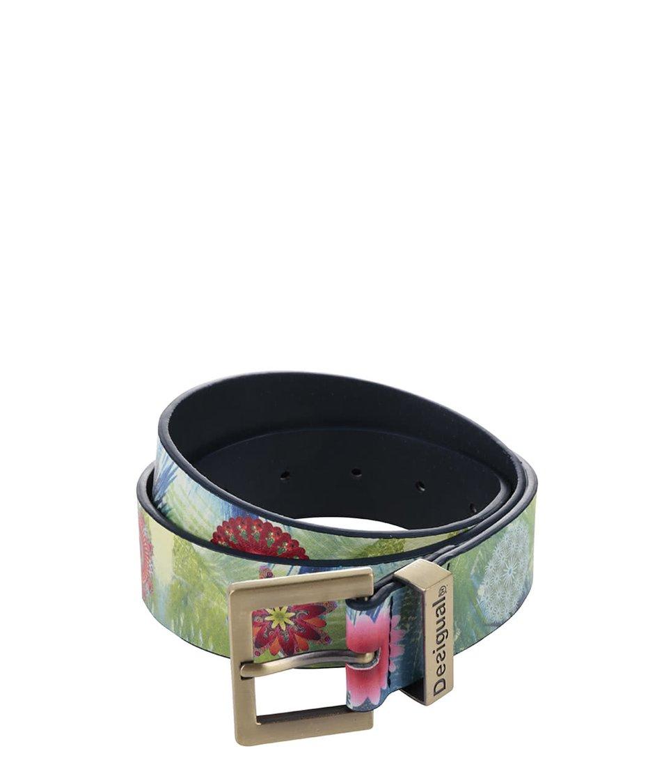 Zelený pásek se vzorem mandal a květin Desigual Kotao