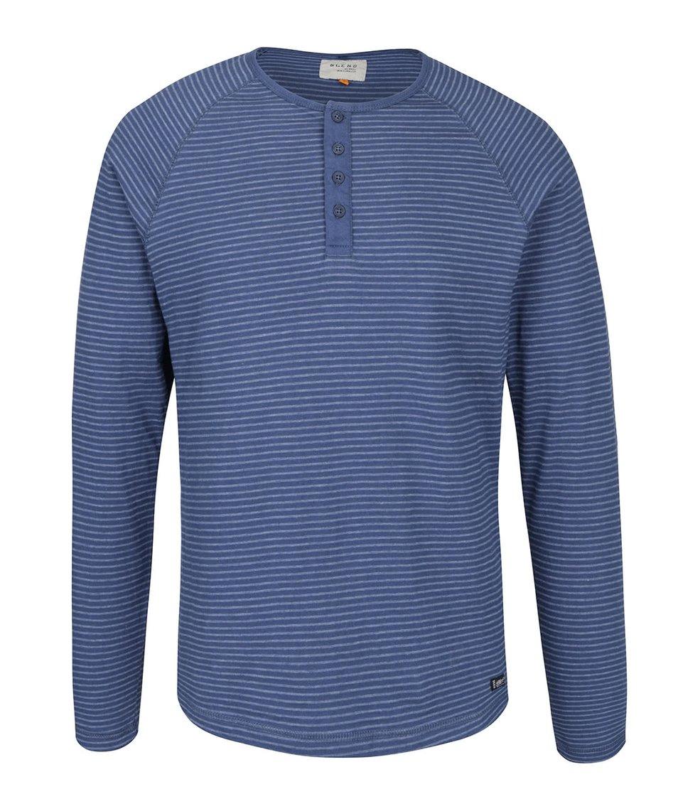 Modré pruhované triko s dlouhým rukávem Blend