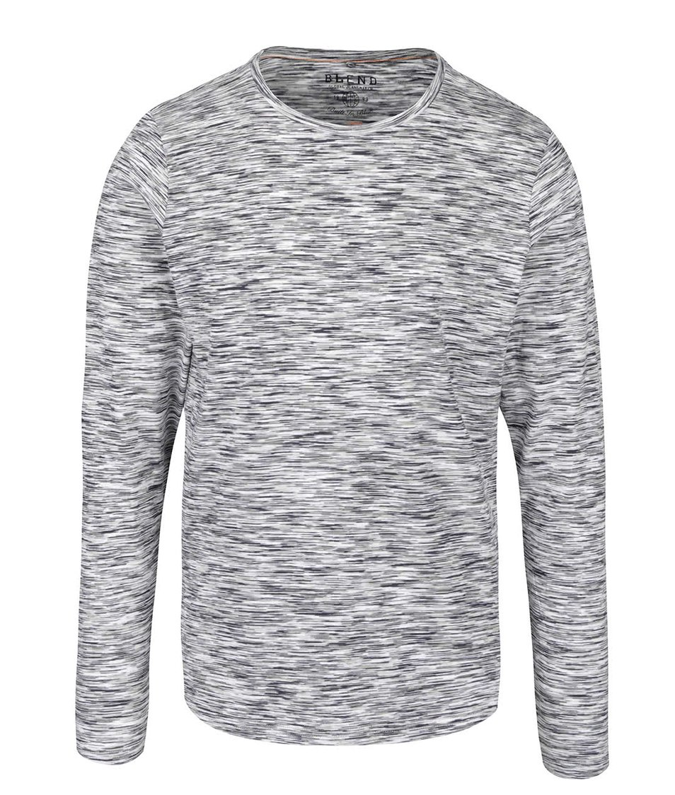 Tmavě šedé žíhané triko s dlouhým rukávem Blend