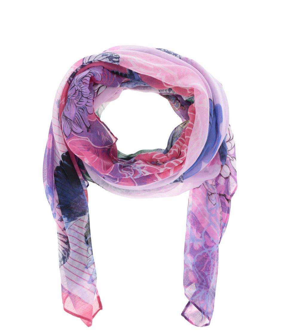 Fuchsiový vzorovaný šátek Desigual Rectangle