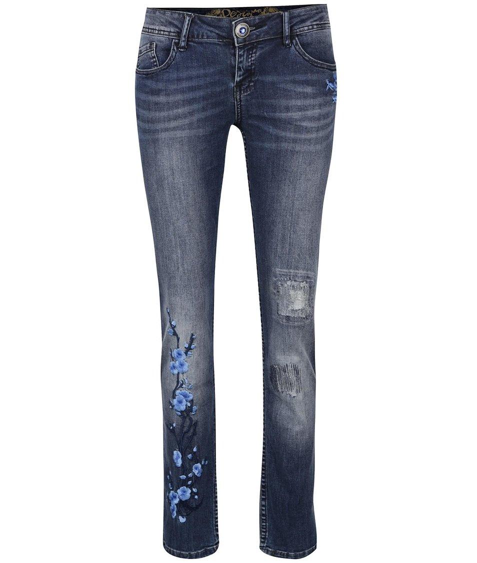 Modré džíny s výšivkou Desigual Irene
