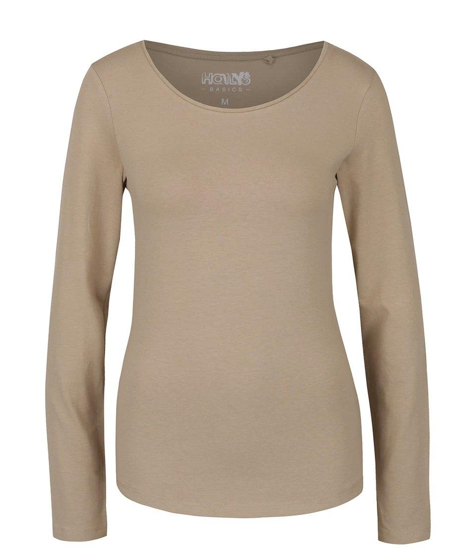 Béžové tričko s dlouhým rukávem Haily´s Tina