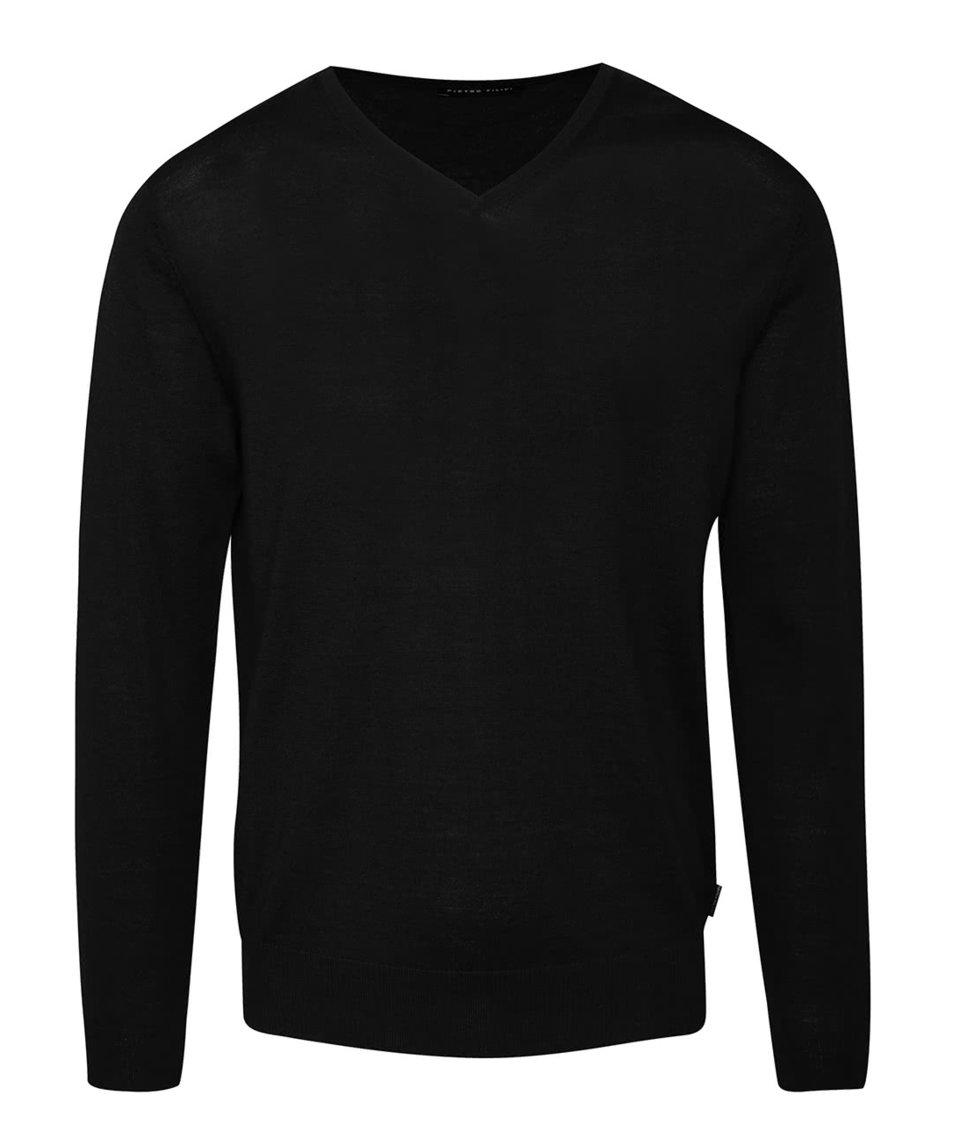 Černý pánský lehký svetr s véčkovým výstřihem z Merino vlny Pietro Filipi