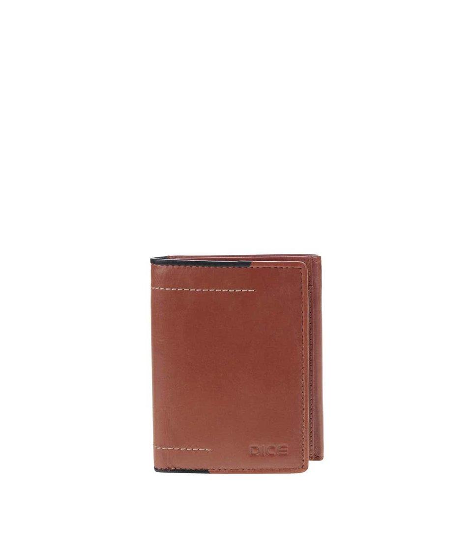 Hnědá kožená peněženka Dice Trifold