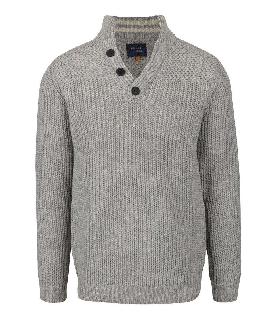 Šedo-krémový žíhaný svetr s knoflíky Blend