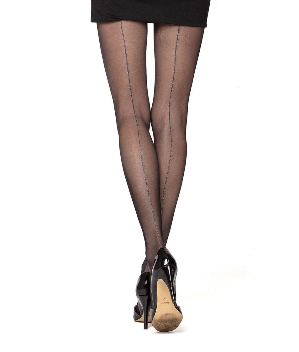 Černé punčochy s proužkem ve stříbrné barvě Oroblu Riga Lux