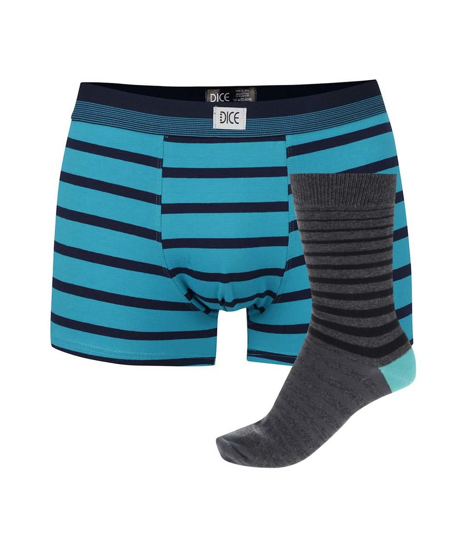 Šedo-tyrkysový dárkový set trenýrek a ponožek Dice