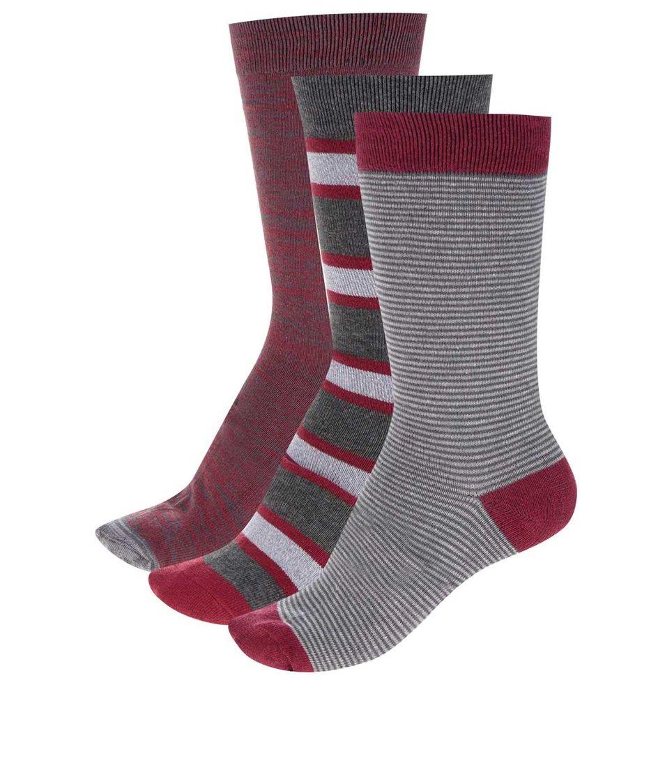 Vínovo-šedá dárková sada tří ponožek Dice