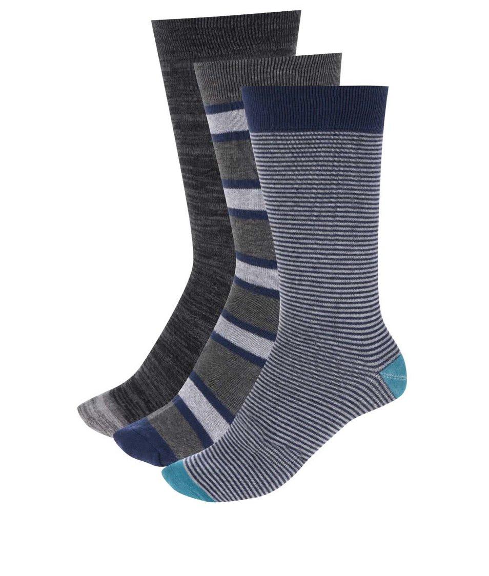 Modro-šedá dárková sada tří ponožek Dice