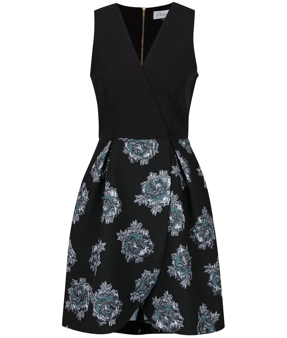Černé šaty s květovanou sukní a topem s překládaným výstřihem Closet