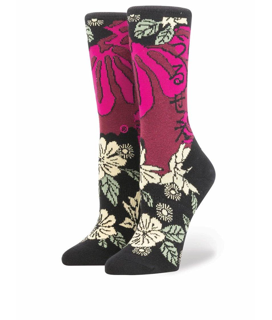 Vínovo-černé dámské ponožky s květovaným motivem Stance Lotus