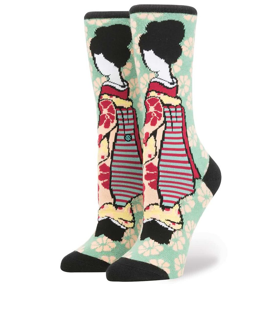 Růžovo-zelené dámské ponožky s japonským motivem Stance Geisha