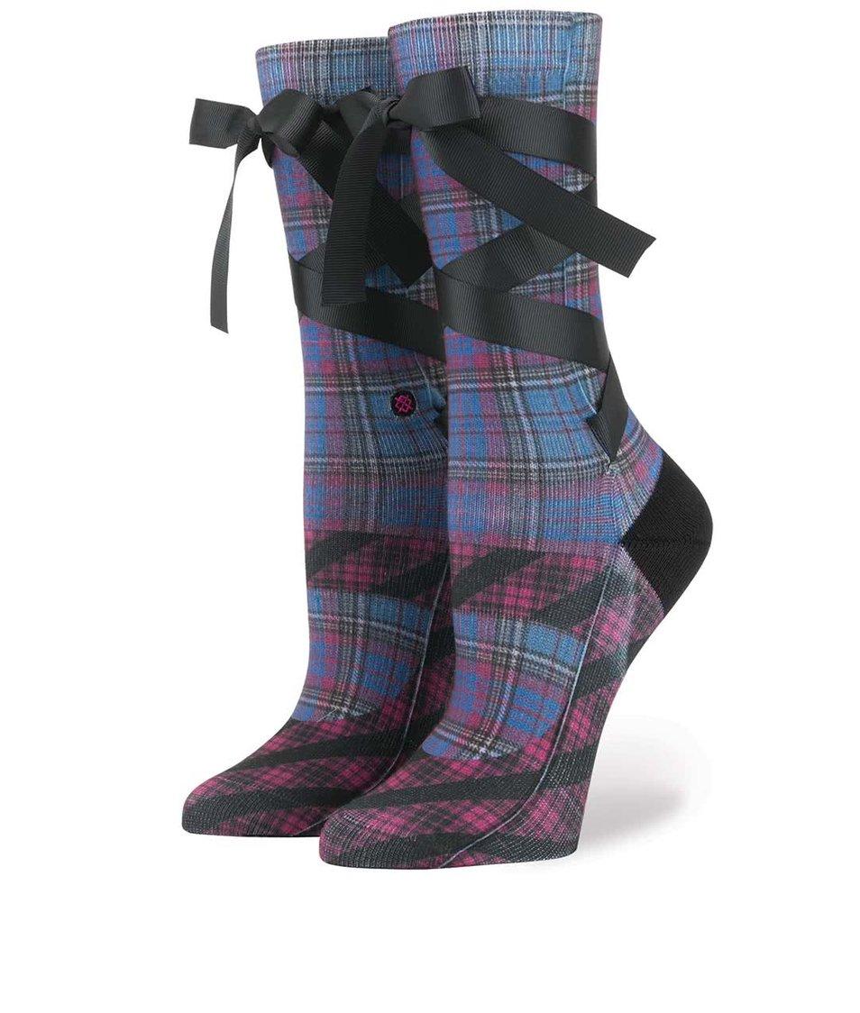 Fialovo-modré kostkované dámské ponožky se stuhou Stance Mary Jane