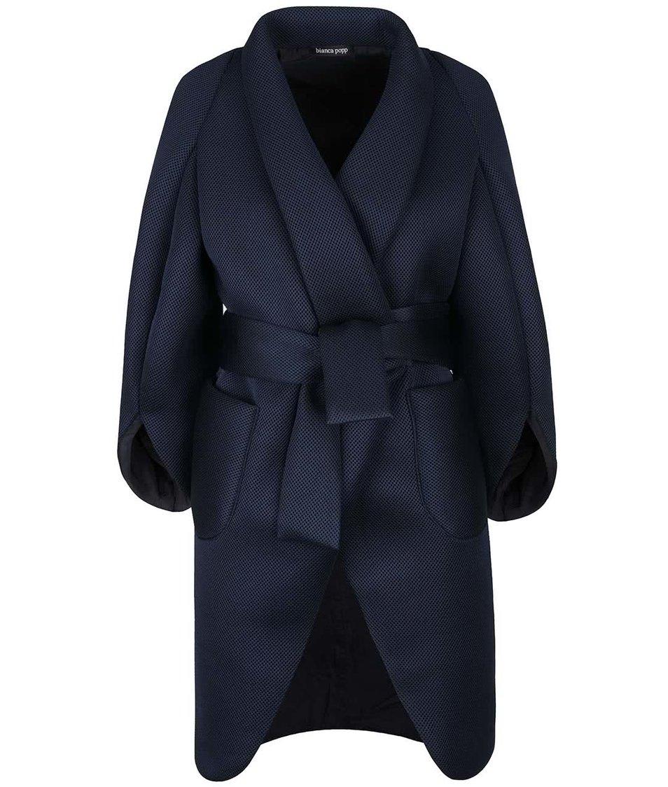 Tmavě modrý kabát s jemnou strukturou a kimonovými rukávy Bianca Popp