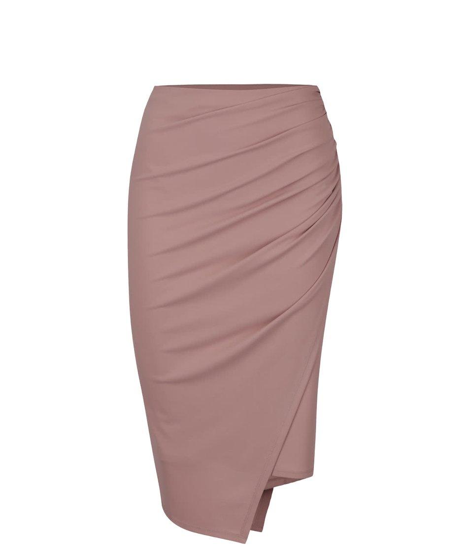 Světle růžová sukně s řasením Miss Selfridge
