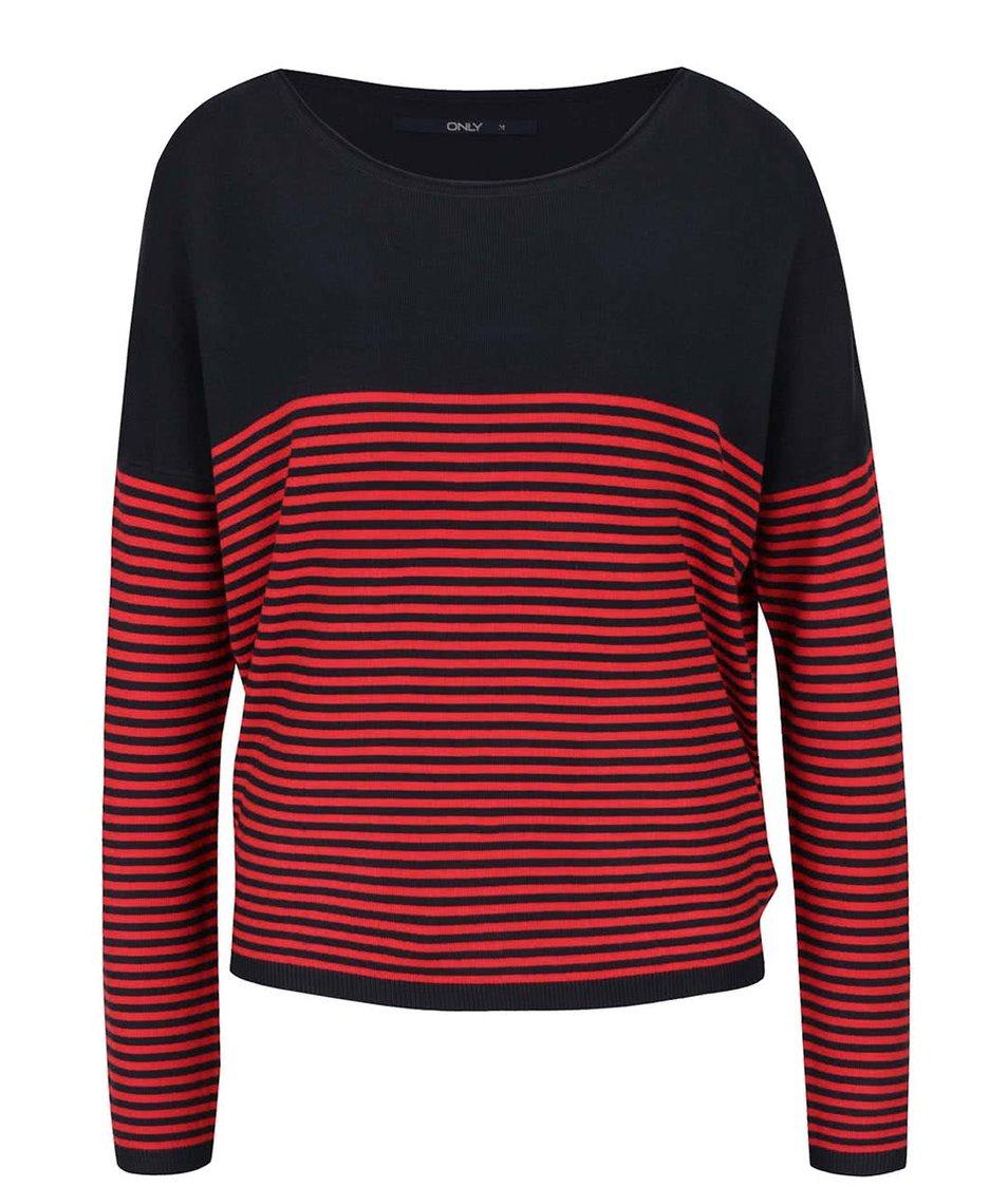 Modro-červený pruhovaný svetr ONLY Malaga