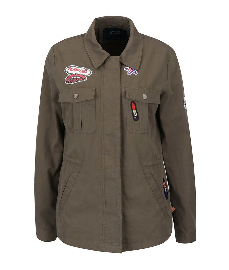 Khaki lehká bunda na zip s nášivkami ONLY Lena