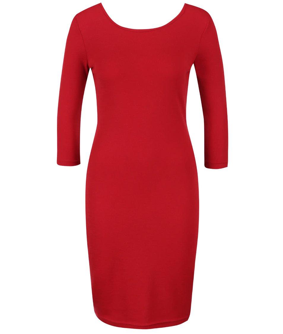 Červené šaty z Merino vlny s 3/4 rukávy Chriss Pola Vespa