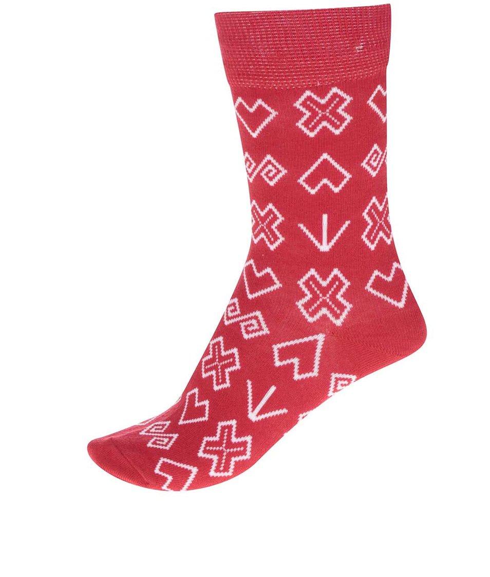 Červené dámské vzorované ponožky Puojd Šampiónky